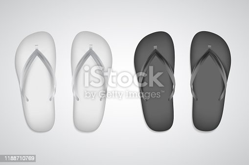 White and black slippers realistic set template isolated on white background. Vector flip flops, beach clothing accessory. Copyspace for branding. Summer pool shoes. Tropical rubber footwear closeup.