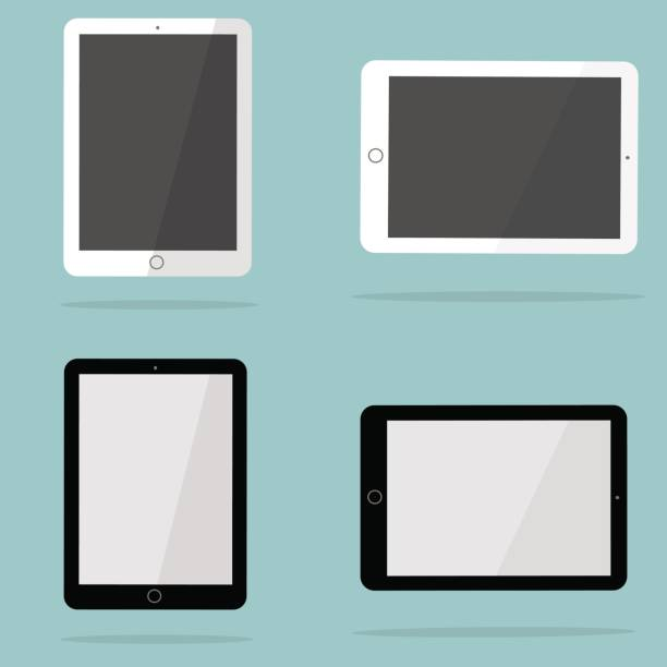 white and black tablet in the style of the ipad. - ipad stock illustrations
