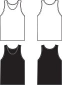 Vector illustration of black and white sleeveless t-shirts   front and back. Great templates for a logo or artwork.