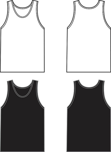 White And Black Tank Tops Vector illustration of black and white sleeveless t-shirts   front and back. Great templates for a logo or artwork. tank top stock illustrations
