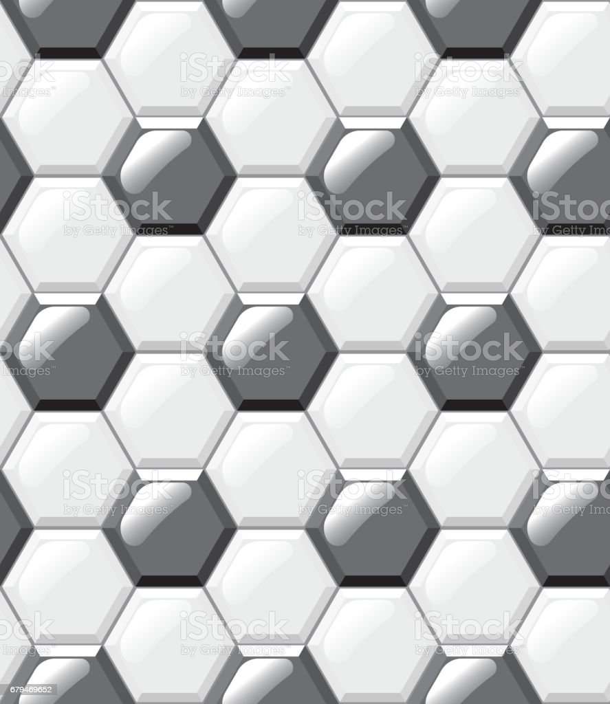 White and black tiles floor, hexagons, realistic seamless pattern 免版稅 white and black tiles floor hexagons realistic seamless pattern 向量插圖及更多 六角形 圖片