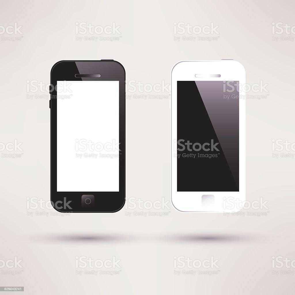 White and black Touchscreen Smartphone. Flat design. vector art illustration