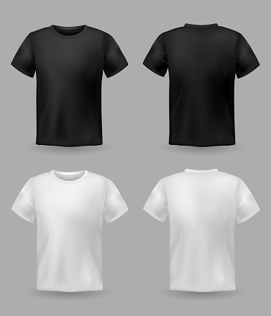 White and black t-shirt mockup. Sport blank shirt template front and back view, men and women clothes for fashion print vector set