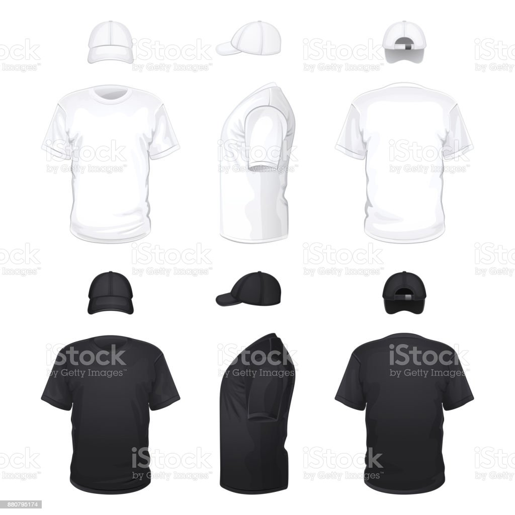 White and Black T-shirts and Caps vector art illustration