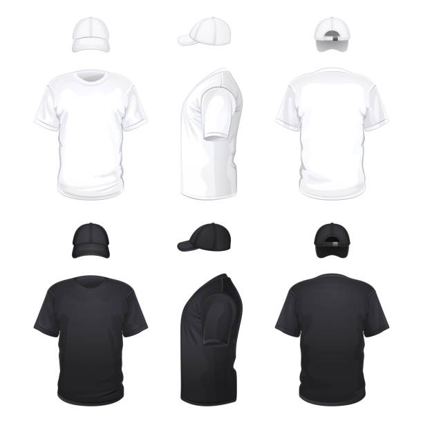 화이트 및 블랙 t-셔츠 및 모자 - 셔츠 stock illustrations