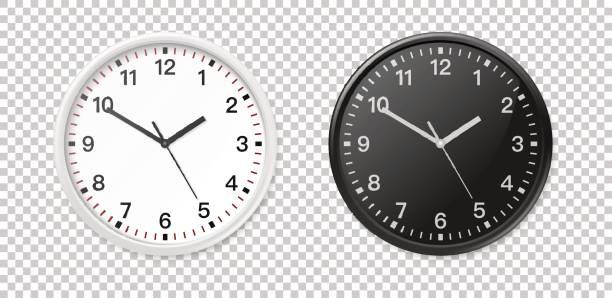 ilustraciones, imágenes clip art, dibujos animados e iconos de stock de conjunto de iconos de reloj de oficina de pared blanco y negro. closeup de plantilla de diseño en vector. maqueta de branding y publicidad aislada sobre fondo transparente - wall clock