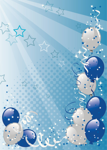 White and blue balloons on light blue background