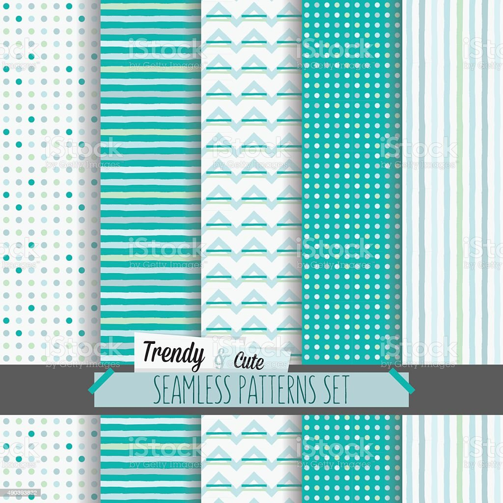 White and blue dotted, stripes and chevron seamless patterns set vector art illustration
