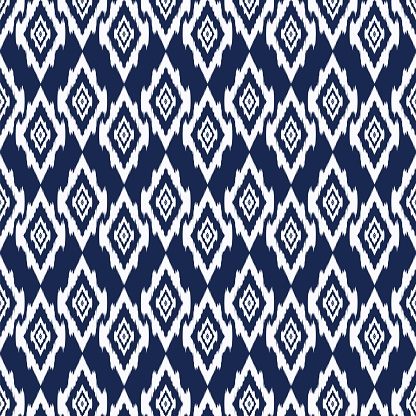 White and Blue Geometric ethnic oriental ikat texture and traditional pattern Design for background,carpet,wallpaper,clothing,wrapping,fabric,Vector illustration.embroidery style CLOTHES.eps