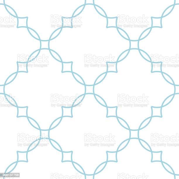 Vit Och Blå Geometrisk Ornament Seamless Mönster-vektorgrafik och fler bilder på Abstrakt