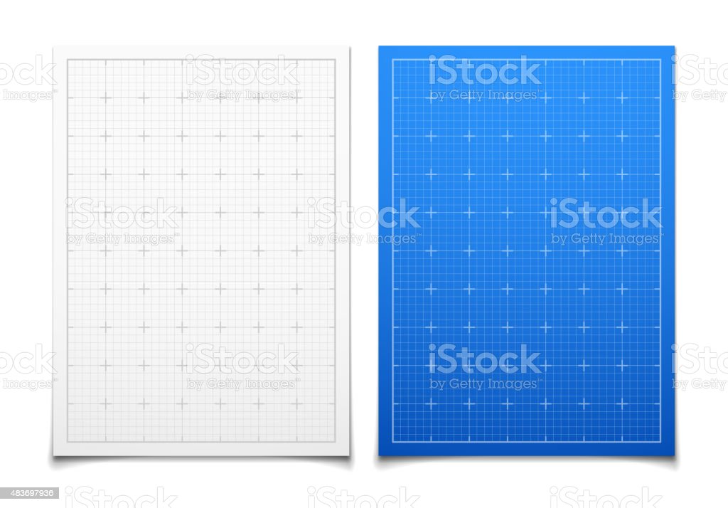 White and blue isolated square grid set with shadow vector art illustration
