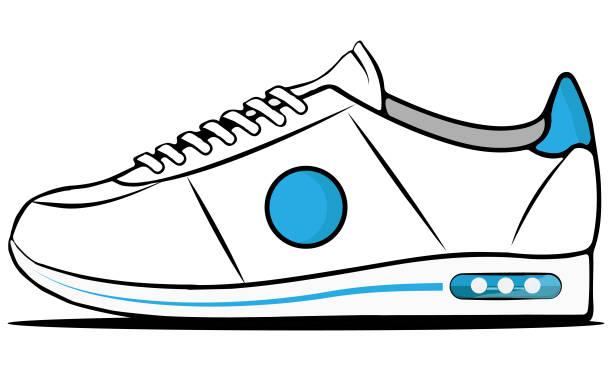 White and blue sneaker vector art illustration