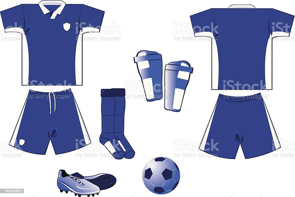 white and blue soccer equipment royalty-free stock vector art
