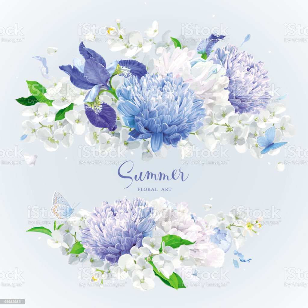 White And Blue Summer Flowers Bouquet Stock Vector Art & More Images ...