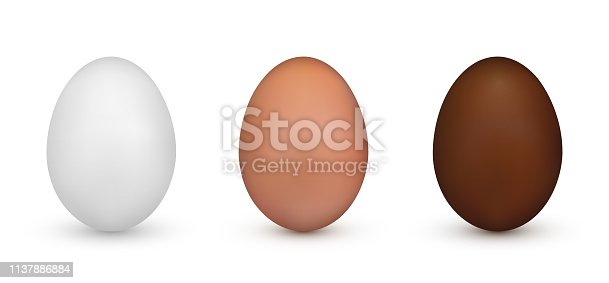White and Brown and Chocolate Easter Egg. Element of Easter decoration and celebration. Vector illustration isolated on white background