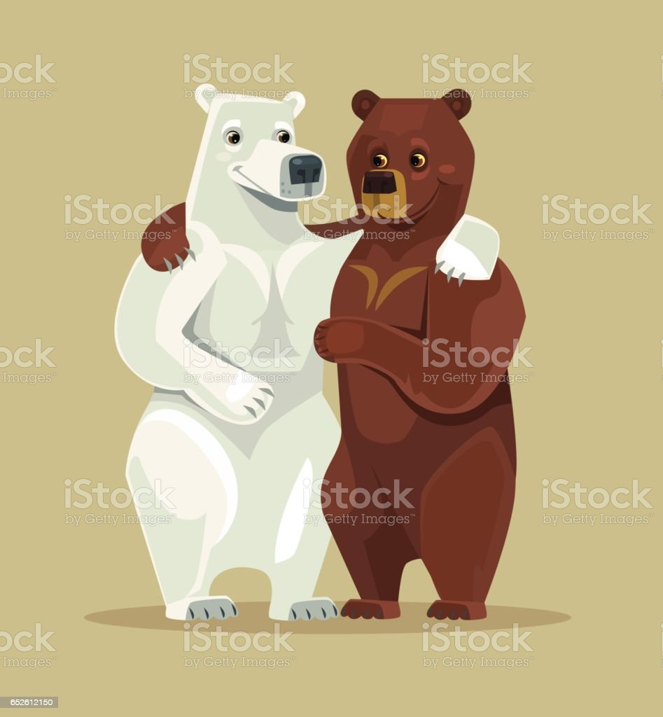 White and brown bears characters hug vector art illustration