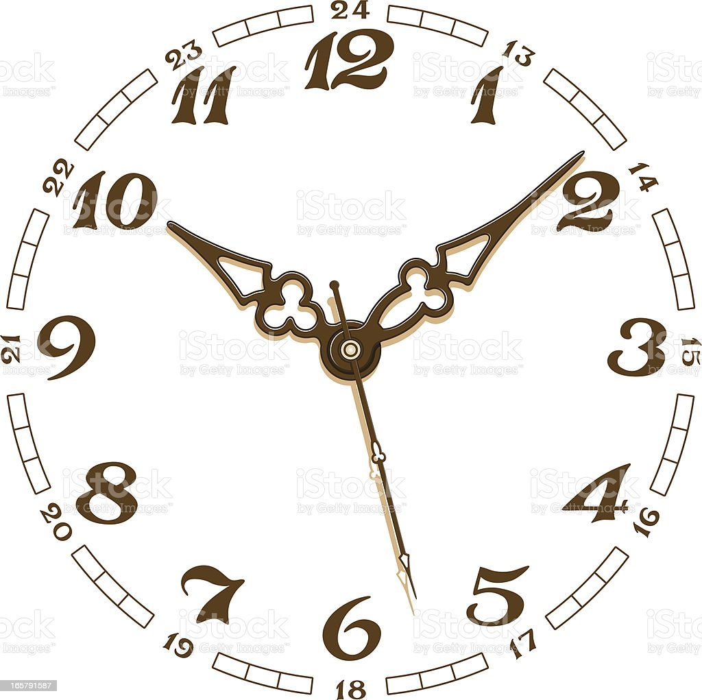 White and brown clock face set on nine minutes past ten vector art illustration