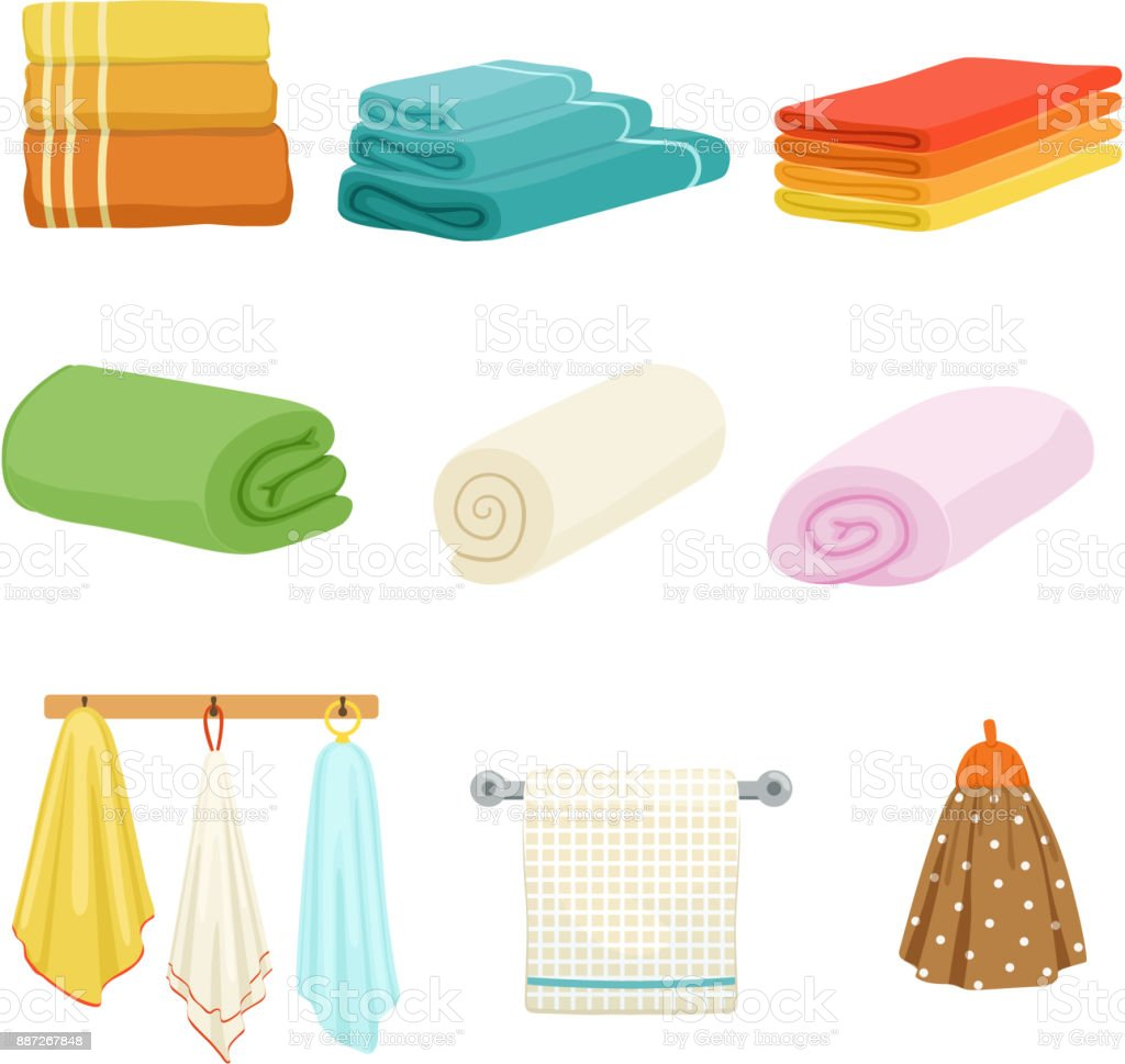 White and colored soft bathe or kitchen towels. Vector illustrations isolate vector art illustration