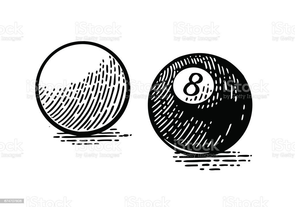 White and eight billiard balls. Vintage black engraving vector art illustration
