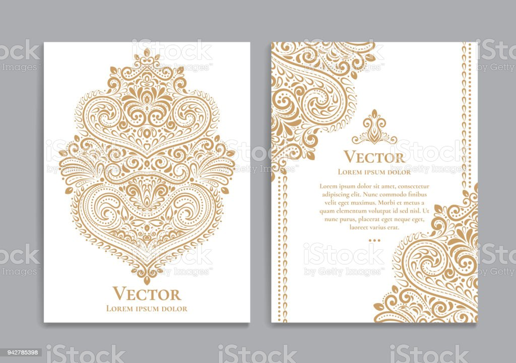 White and gold invitation cards with a luxurious vintage pattern. vector art illustration