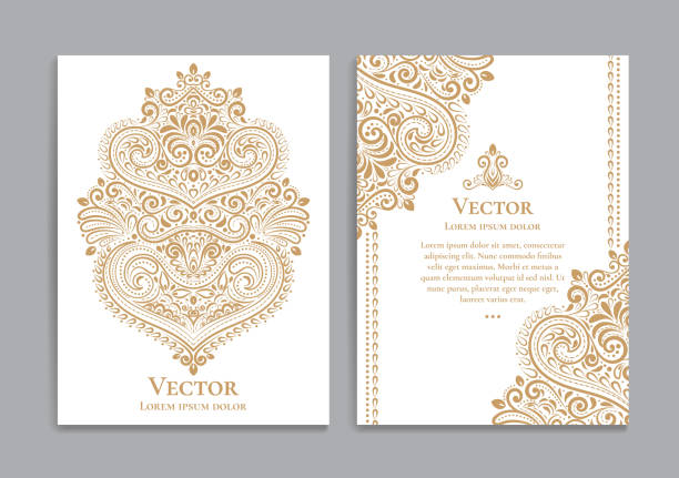 illustrazioni stock, clip art, cartoni animati e icone di tendenza di white and gold invitation cards with a luxurious vintage pattern. - arabia