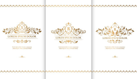 White and gold packaging for luxury products. Vintage vector ornament template. Elegant, classic elements. Great for food, drink and other package types. Can be used for background and wallpaper.