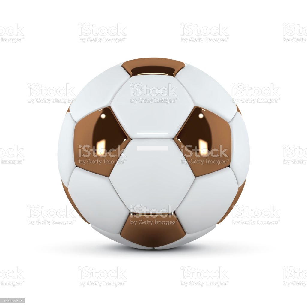 936cd732c White and Gold soccer ball on white background. Golden 3d football ball  royalty-free