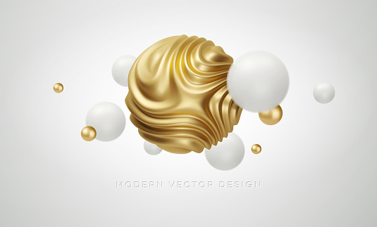 White and Golden metal organic shape 3d sphere background. Trend design for web pages, posters, flyers, booklets, magazine covers, presentations. Vector illustration