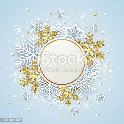 Round winter banner with white and golden snowflakes on a blue background. Design for new year and Christmas. Vector illustration.