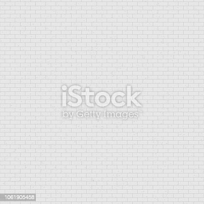 White and gray brick wall background. Geometric seamless pattern. Grunge texture backdrop for interior design. Vector illustration. Easy to edit template for your artworks.