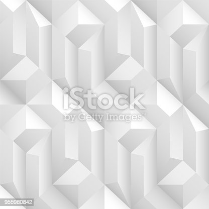 927104724 istock photo White and gray decorative geometric texture. Vector seamless 3d background 955980842