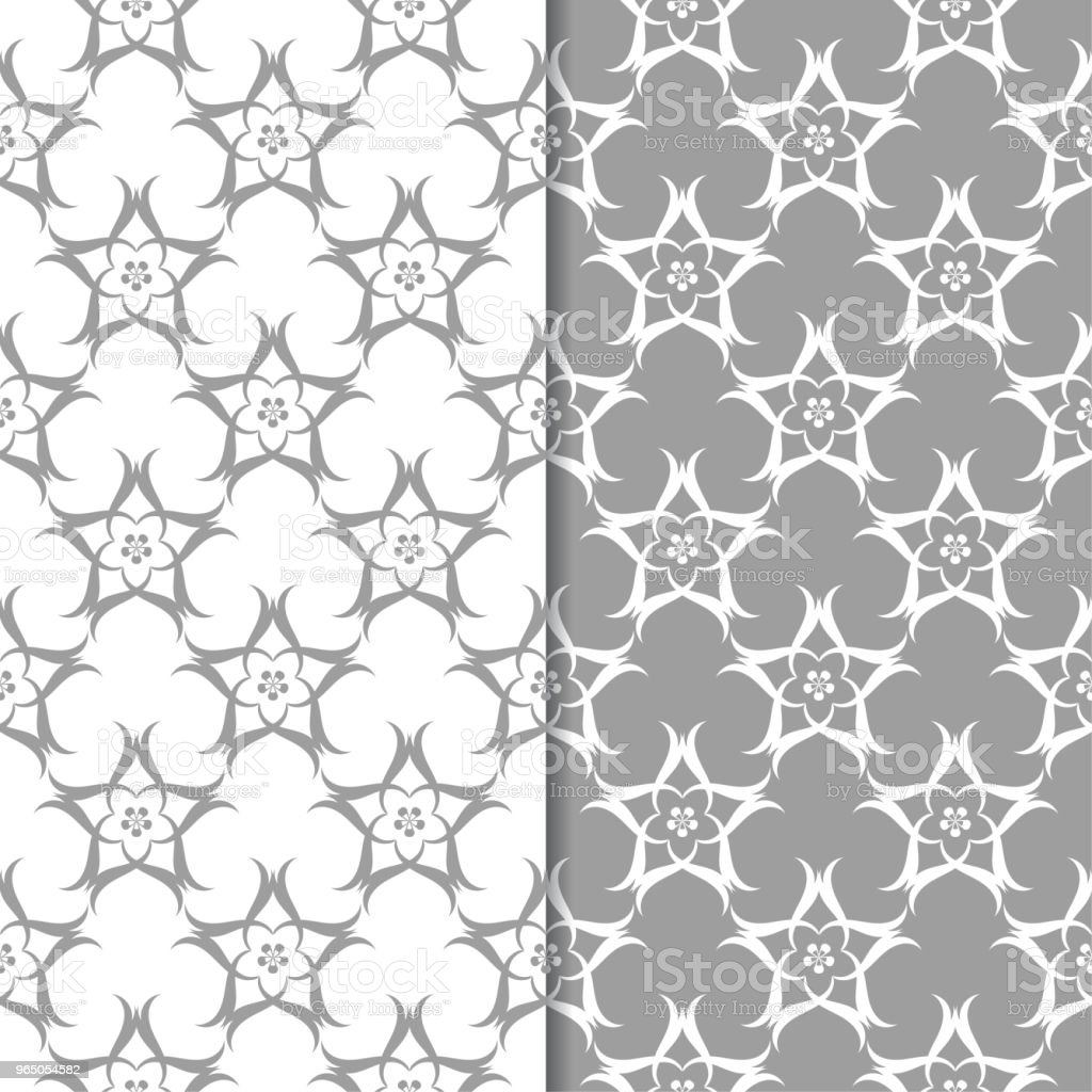 White and gray floral backgrounds. Set of seamless patterns royalty-free white and gray floral backgrounds set of seamless patterns stock vector art & more images of abstract