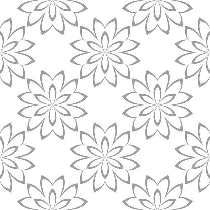Witte En Grijze Naadloze Bloemmotief Stockvectorkunst en meer beelden van Abstract