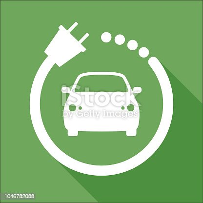 Vector illustration of white and green car charging station icon.