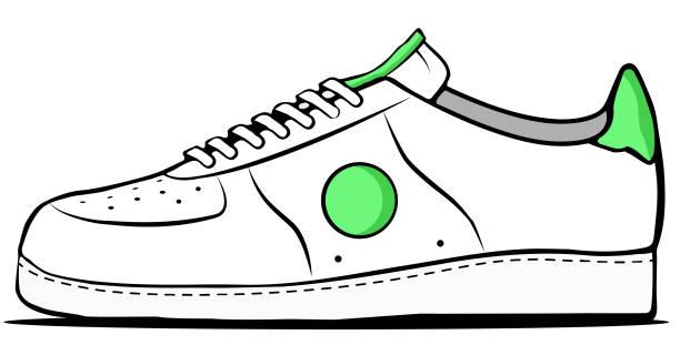 White and green sneaker vector art illustration