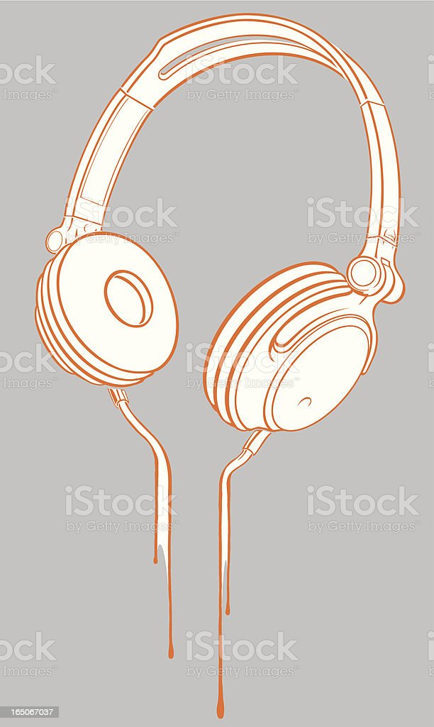 White and orange headphones on gray background royalty-free stock vector art