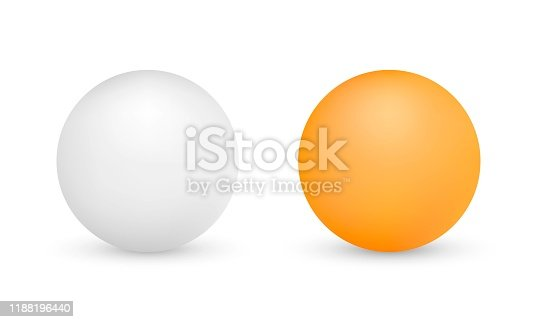 White and orange ping-pong balls isolated on white background. Vector illustration