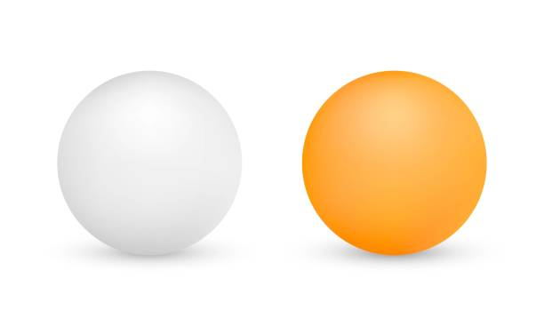 White and orange ping-pong balls isolated on white background White and orange ping-pong balls isolated on white background. Vector illustration sphere stock illustrations