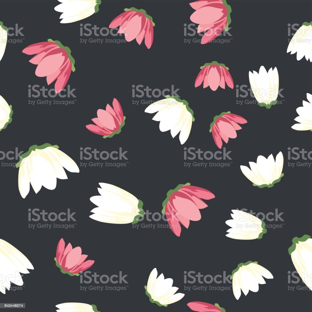 White and Pink Flowers Seamless Pattern vector art illustration