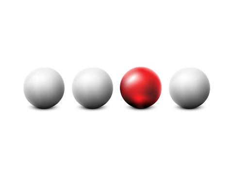 White and red ball