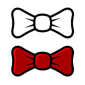White and Red Bow Tie Icons, isolated on Light Background