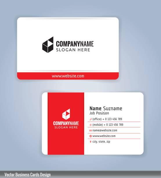 weiße und rote moderne visitenkarte vorlage - webdesigner grafiken stock-grafiken, -clipart, -cartoons und -symbole