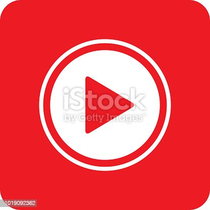Vector illustration of a white and red play button icon.