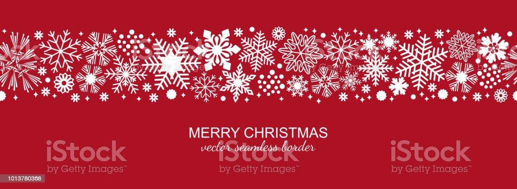 Witte en rode naadloze sneeuwvlok grens, Kerstmisvectorkunst illustratie