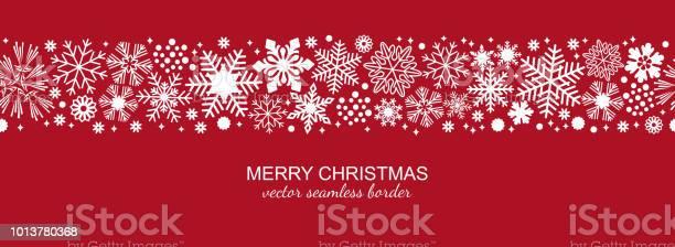 Vita Och Röda Sömlös Snöflinga Gränsen Jul-vektorgrafik och fler bilder på Abstrakt