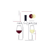 White and red wine. Bottle and wineglasses. Icon in a modern line style for the restaurant menu, tasting, wine list, winery, shop. Vector illustration.
