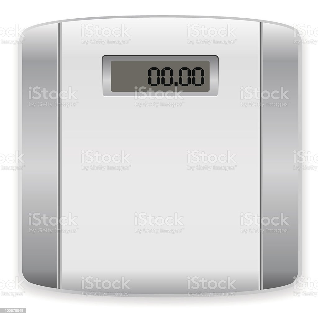 White and silver blank weighing scale isolated on white vector art illustration