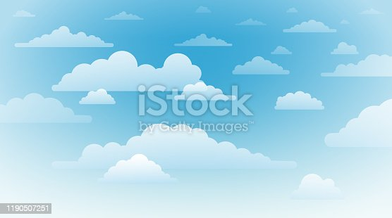 Vector illustration of clouds in blue sky