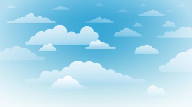 파란색 배경에 흰색과 투명한 구름 - sky stock illustrations