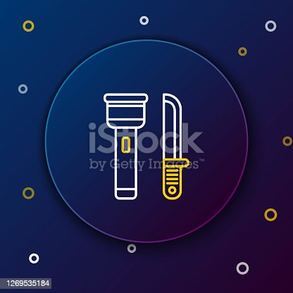 White and yellow line Flashlight and knife icon on dark blue background. Colorful outline concept. Vector Illustration